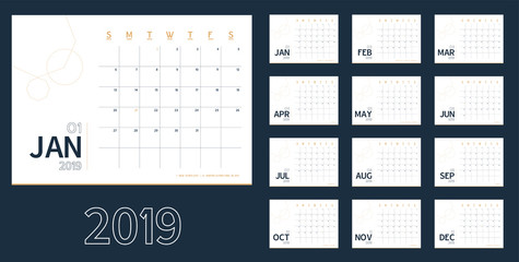 Vector of 2019 new year calendar in clean minimal blue table simple style,Holiday event planner,Week Starts Sunday.include holiday event.A5 size.