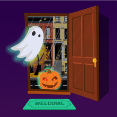 Glowing pumpkin enters the house through an open door. In the hallway flying glowing Ghost. Outside the door of the city autumn landscape at dusk. Flat cartoon style vector illustration.