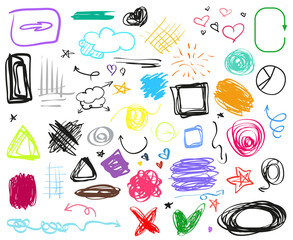 Infographic elements on isolation background. Big set of different signs. Hand drawn simple elements. Highlighters for design. Line art. Abstract circles, arrows and rectangle frames. Doodles for work