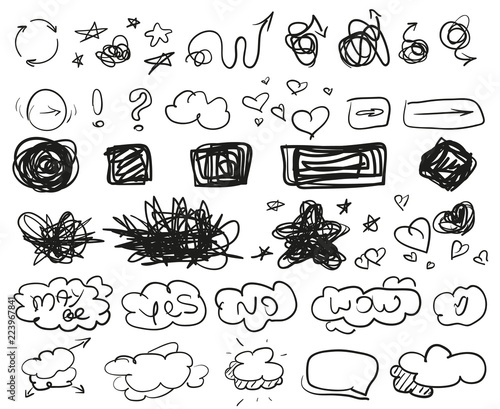 Grunge Signs Big Set Of Different Shapes Hand Drawn Simple Symbols