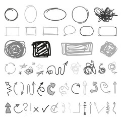 Grunge signs. Infographic elements on isolated background. Big set on white. Hand drawn simple tangled symbols. Doodles for design. Line art. Abstract arrows, circle and rectangle frames