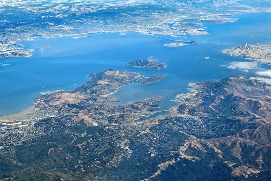 Aerial View of entire San Francisco Bay Area: Looking south towards Downtown San Francisco, Sausalito, Belvedere, Bay Bridge with Oakland in the distance.