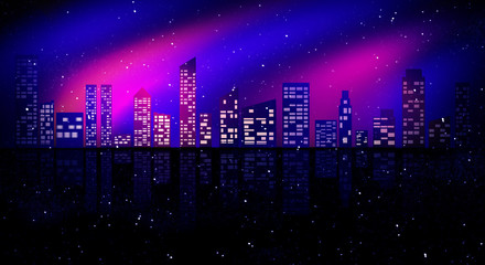 Night city, neon light.