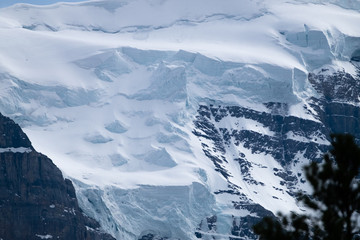 Detail of snow on Mount Temple in Banff national park