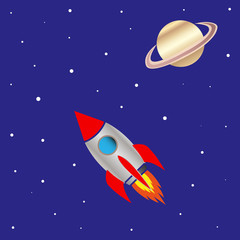 space ship and planet saturn