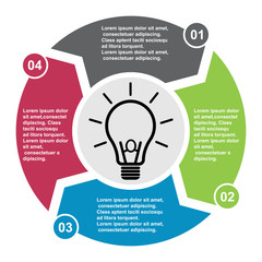 4 step vector element in four colors with labels, infographic diagram. Business concept of 4 steps or options with bulb