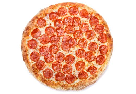 Pizza pepperoni isolated on white background