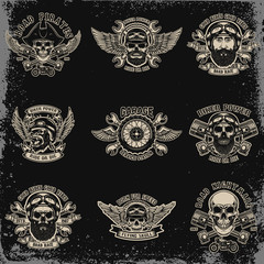 Set of biker emblems. Racer skull with crossed pistons. Extreme motorsport. Design elements for logo, label, emblem, sign.