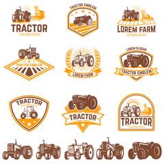 Set of tractor emblems. Farmers market. Design element for logo, label, sign.