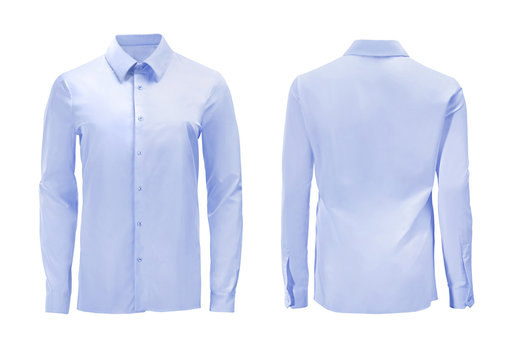 Blue color formal shirt with button down collar isolated on white
