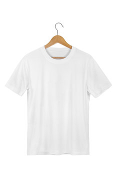 White Blank Cotton Tshirt with wooden hanger isolated on white