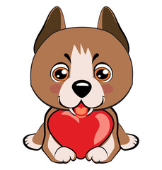 Small, cute puppy with heart. Vector illustration