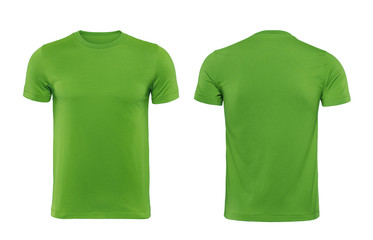 Green tshirt design template isolated on white with clipping path
