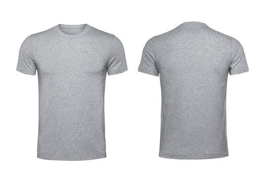Blank gray t-shirt isolated on white background