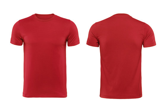 Red T-shirts front and back used as design template.