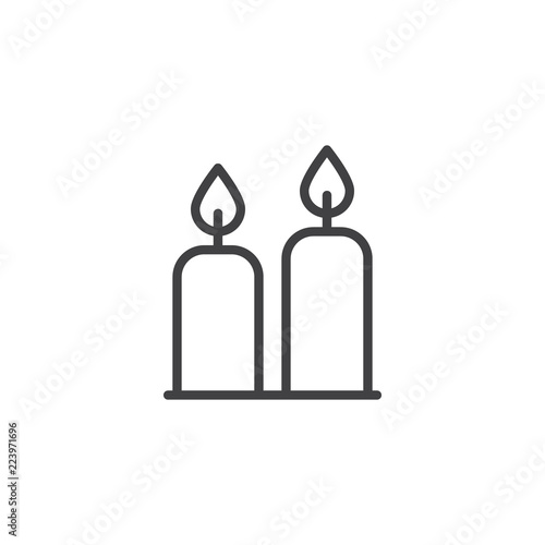 Two Candles outline icon  linear style sign for mobile