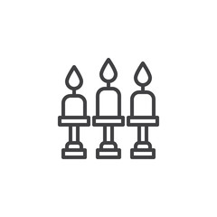 Candelabra with candles outline icon. linear style sign for mobile concept and web design. Candlestick simple line vector icon. Symbol, logo illustration. Pixel perfect vector graphics