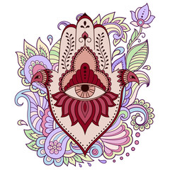"Color Hamsa hand drawn symbol on flower ornament. Decorative pattern in oriental style for the interior decoration and henna drawings. The ancient sign of ""Hand of Fatima"". Print on t-shirt."
