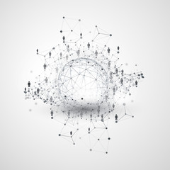 Digital Networks, Global Business Connections - Social Media Concept Design with Globe and Network Mesh