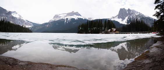 Panoramic view of Emerald lake in BC, Canada
