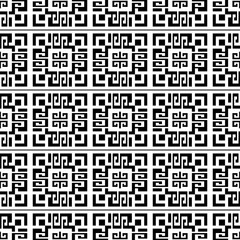 Geometric abstract greek vector seamless pattern. Black and white isolated ornamental background. Geometry ornaments with checkered greek key meanders, shapes, lines, squares. Monochrome ornate design