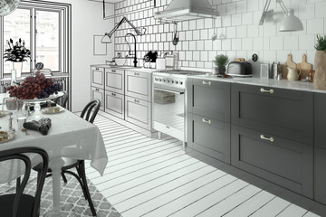 Modern Kitchen Arrangement (sketch)