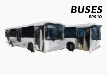 The bus consists of triangles. Low poly bus. Vector illustration