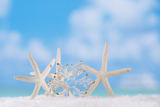 glitter christmas glass snowflake with starfish
