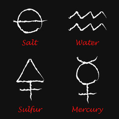Alchemical Signs: Sulfur, Mercury, Salt and Water. Vector illustration