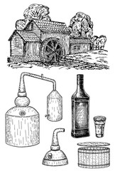 Distillery set that makes hard alcohol, vector ink hand drawn illustration isolated on white background.