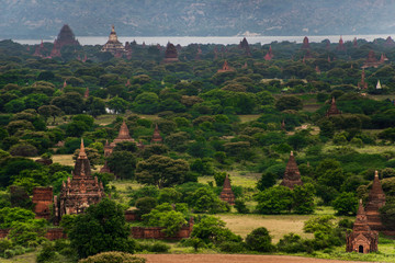 Landscape view of ancient temples, Old Bagan, Myanmar (Burma)