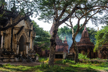The environment of temples in old Bagan, Myanmar