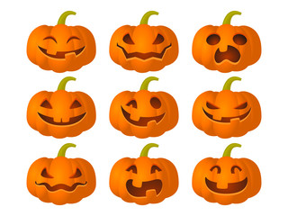 Set of pumpkins with different expressions for the Halloween party. Vector illustration