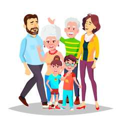 Family Vector. Full Family. Portrait. Dad, Mother, Kids, Grandparents. Poster, Advertising Template. Isolated Cartoon Illustration