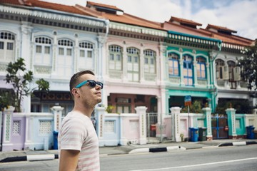 Colorful street in Singapore