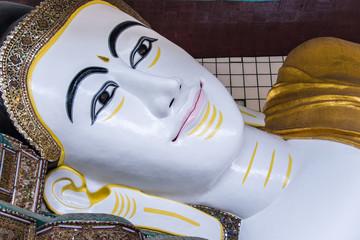 Close up Face of Shwethalyaung Reclining Buddha at Bago, Myanmar
