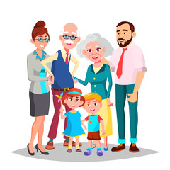 Family Vector. Mom, Dad, Children, Grandparents Together. Decoration Element. Isolated Cartoon Illustration