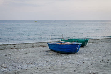 Leptokarya, Greece - June 09, 2018: Drawn boats on the coast