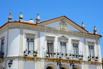 Front view of the Town Hall balconies and windows in the Praca Largo de Se in the city centre, Faro, Algarve, Portugal.