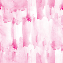 Pink seamless pattern watercolor blots on white background