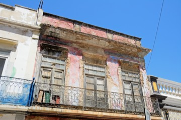 Traditional Portuguese building in the old town in need of renovation, Olhau, Portugal.