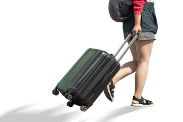 The girl is coming with a suitcase.