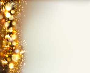 Xmas evening balls on the shine glimmered Christmas holiday gold background.