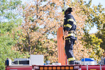 Firefighters intervening in a disaster