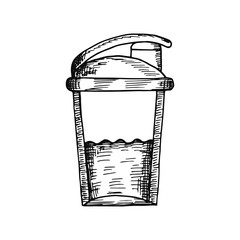 sports cocktail shaker sketch isolated on white