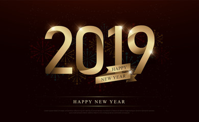happy new year 2019 celebration gold number and golden ribbons with fireworks on dark background. vector illustration