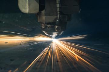 Industrial laser sheet metal cutting.