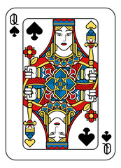 A playing card Queen of Spades in yellow, red, blue and black from a new modern original complete full deck design. Standard poker size.