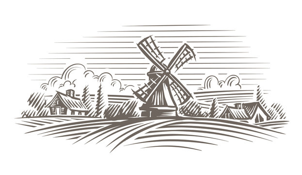 Windmill in a rural landscape illustration. Vector, layered.