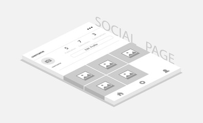Social network photo frame with shadow, Profile pageю Social page for the application. Isometric design